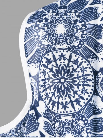 Trendy Floral Cold Shoulder T-Shirt - 2XL BLUE AND WHITE Mobile