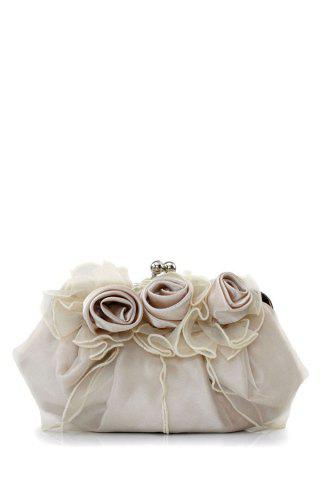 Fancy Satin Flowers Lace Evening Clutches LIGHT CAMEL