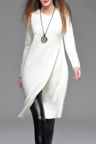 Store Asymmetric Sweater Dress WHITE S