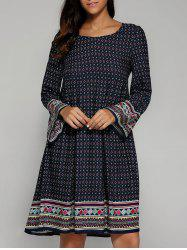 Ethnique Tribal Print Smock Dress - Bleu Violet