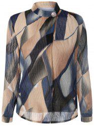 Stand Collar Printed Texture Blouse -