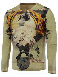 3D Funny Eagle Print V-Neck Long Sleeve Sweater -