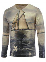 3D Sailing Print V-Neck Long Sleeve Sweater