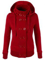 Chic Hooded Long Sleeve Pure Color Double-Breasted Women's Hoodie -