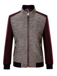 Stand Collar Melange Rib Spliced Jacket ODM Designer - DARK RED