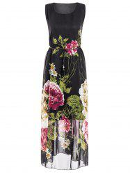 Plus Size Sleeveless Scoop Neck Floral Print Women's Dress - BLACK