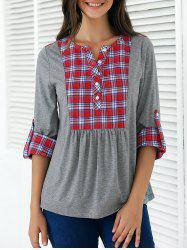 Plaid Print Patchwork Buttoned Blouse - GRAY AND RED