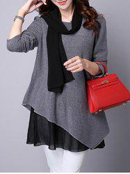 Long Sleeve Faux Twinset Asymmetric Blouse -