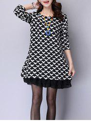 Chiffon Hem Printed Long Sleeve Mini Dress