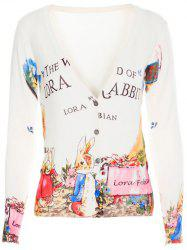 V-Neck Letter and Bunny Print Cardigan -