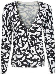 Two-Tone Floral Pattern Cardigan -