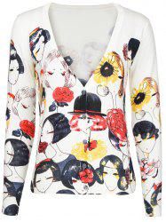 V-Neck Face Print Buttoned Cardigan -