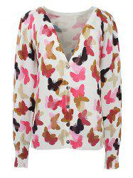 V-Neck Butterfly Printed Cardigan -