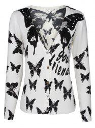Two-Tone Butterfly and Letter Cardigan -