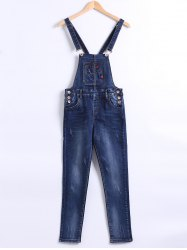 Pocket Design Buttoned Denim Overall Pants