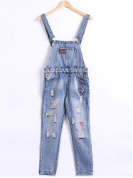 Pocket Frayed Icon Patchwork Overall Pants