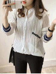 Striped Letter Embroidered Buttoned Shirt