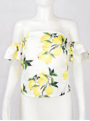 Slimming Off-The-Shoulder Lemon Print Blouse