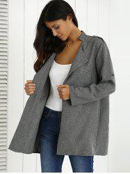 Hemming Sleeves Heather Shoulder Mark Coat - GRAY
