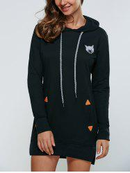 Animal Embroidered High Low Hooded Sweatshirt Dress