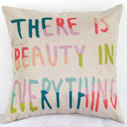 Beauty In Everything Letters Sofa Bed Pillow Case - COLORMIX