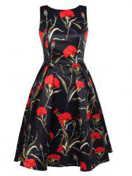 Blossom Floral Print Swing Prom Dress