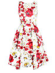 Floral Print Sleeveless Swing Dress -