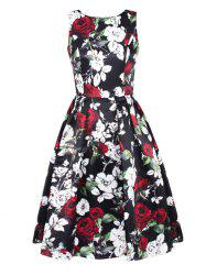 Sleeveless Floral Fit and Flare Prom Dress -