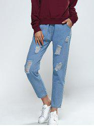 Elastic Waist Broken Hole Pocket Design Jeans - LIGHT BLUE