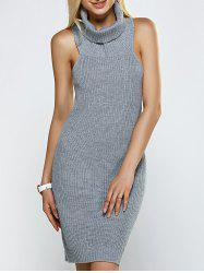 Turtleneck Backless Ribbed Sleeveless Sweater Dress - GRAY