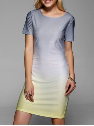 Ombre Skinny Slimming Dress - GRAY XL