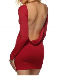 Long Sleeve Backless Bodycon Dress - DEEP RED