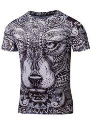 Ornate Animal Print Round Neck Short Sleeve T-Shirt