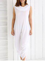 Plus Size Cowl Neck Ruched Plain Jumpsuit -
