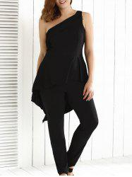 Plus Size One Shoulder Backless Jumpsuit - BLACK