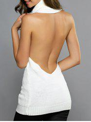 Turtleneck Open Back Longline Sweater