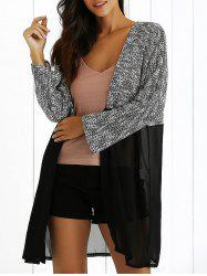 Sheer Spliced Long Sleeve Longline Cardigan