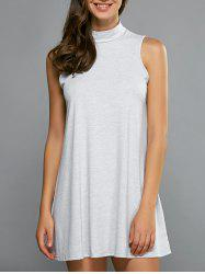 Turtleneck Sleeveless Casual Dress - LIGHT GRAY L