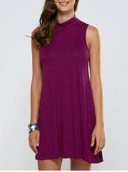 Turtleneck Sleeveless Casual Dress