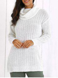 Turtleneck Textured Long Sleeve Sweater - WHITE ONE SIZE