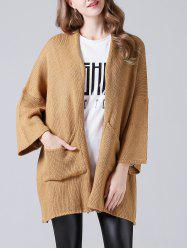 Drop Shoulder Twin Pocket Loose Cardigan