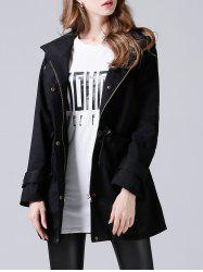 Hooded Drawstring Single-Breasted Trench Coat