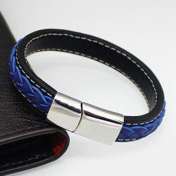 Punk Magnet Buckle Braided Faux Leather Bracelet - BLUE