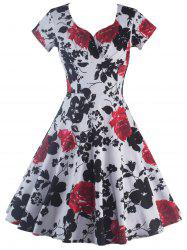 Short Sleeve Flower Print Swing Dress