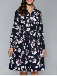 Long Sleeve Button Down Print Dress