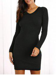 V Neck Bodycon Ribbed Long Sleeve Dress - BLACK ONE SIZE