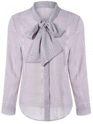Long Sleeve Plaided Pussy Bow Tie Shirt