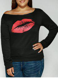Plus Size Long Sleeve Red Lips T-Shirt -