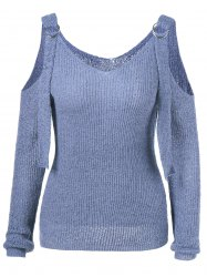 V Neck Cold Shoulder Knitwear -