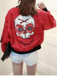 Skulls Letter Print Long Sleeve Jacket -